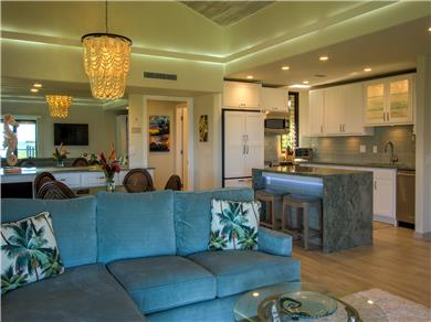 Wailea Elua Village Condo Vacation Rental Looking toward the designer high-tech kitchen