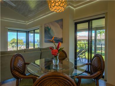 Wailea Elua Village Condo Vacation Rental Views may be enjoyed while dining