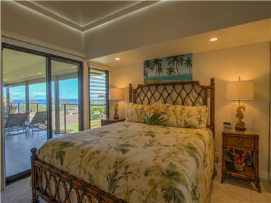 Wailea Elua Village Condo Vacation Rental Master Bedroom with Cal-king bed opens to lanai