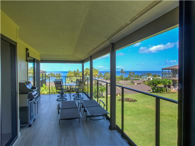 Wailea Elua Village Condo Vacation Rental Lanai with BBQ, lounges & beach gear