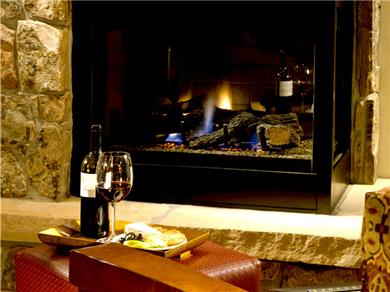 Sheraton Steamboat Mountain Villas Vacation Rental Gas Fired 2-Sided Fireplace In LR